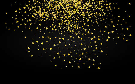 Yellow Confetti Abstract Black Background. Festive Dust Pattern. Golden Shine Paper Postcard. Shards Christmas Texture.