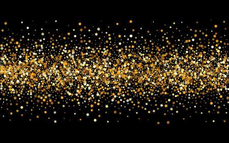 Yellow Glow Effect Black Background. Christmas Shine Design. Golden Circle Golden Wallpaper. Dot Abstract Pattern.