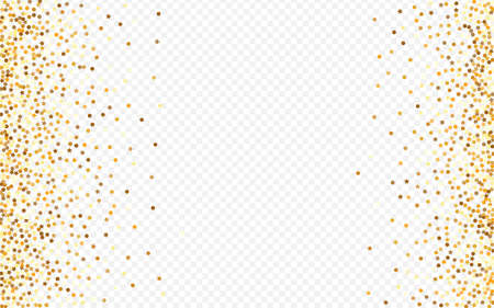 Golden Dot Light Transparent Background. Abstract Circle Pattern. Yellow Round Falling Background. Polka Vector Wallpaper.