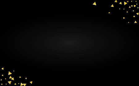Golden Triangle Anniversary Black Background. Luxury Shard Postcard. Yellow Shine Rich Illustration. Shards Modern Banner.