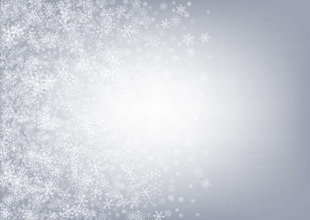Gray Snowflake Vector Gray Background. New Snow Design. Silver Holiday Illustration. Falling Snowfall Holiday.
