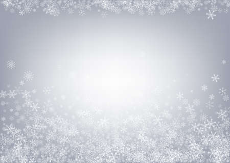 Gray Snowflake Vector Gray Background. Abstract Snowfall Card. White Fantasy Texture. Falling Snow Holiday.