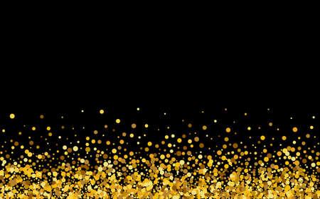 Golden Confetti Art Black Background. Glamour Round Design. Gold Circle Isolated Banner. Polka Bridal Invitation. Vektorové ilustrace