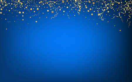 Yellow Confetti Abstract Vector Blue Background. Celebration Streamer Plant. Ribbon Celebrate Branch. Golden Christmas Poster. Ilustración de vector