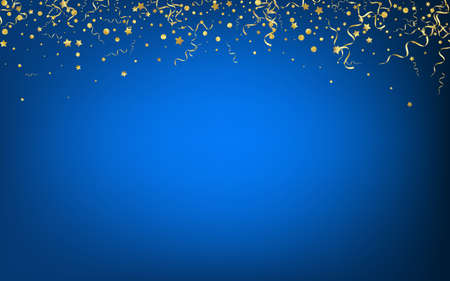 Yellow Confetti Abstract Vector Blue Background. Celebration Streamer Plant. Ribbon Celebrate Branch. Golden Christmas Poster. Ilustração Vetorial