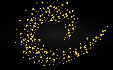 Gold Shards Modern Black Background. Bridal Shard Backdrop. Golden Confetti Luxury Banner. Triangle Glamour Texture. 向量圖像