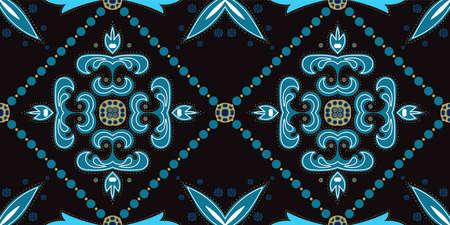 Dark Blue and Gold Plated Old Turkish Ornament Vector Seamless Pattern. Elegant Moroccan Texture. Indigo Portugal Retro Wallpaper. Stock fotó - 155398950