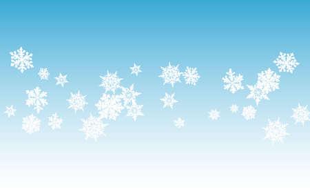 White Snowflake Panoramic Vector Blue Background. Winter Snowfall Pattern. Gray Fantasy Design. Light Snow Banner.