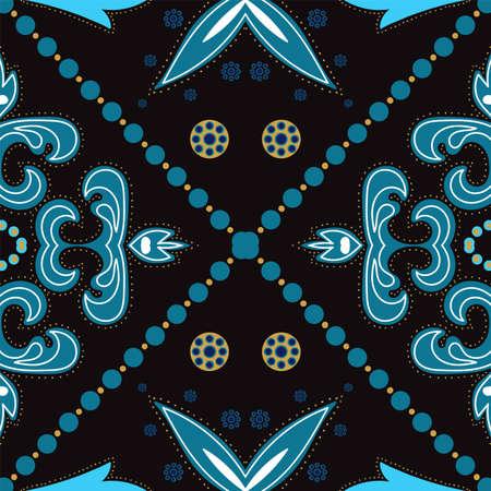 Dark Blue and Gold Plated Ceramic Motif Ornament Vector Seamless Pattern. Elegant Islam Texture. Indigo Spanish Ornate Wallpaper.