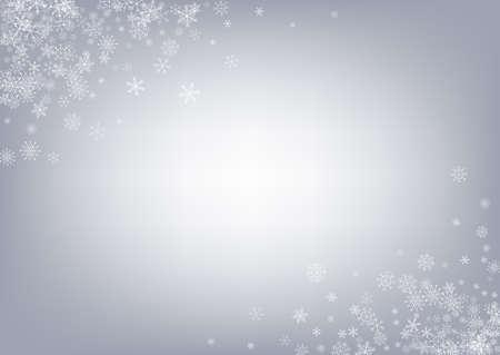 Gray Snowflake Vector Gray Background. Xmas Snow Transparent. Silver Falling Design. Light Snowfall Card. Ilustracje wektorowe