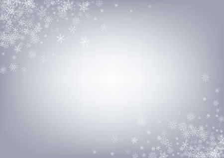 Gray Snowflake Vector Gray Background. Xmas Snow Transparent. Silver Falling Design. Light Snowfall Card. Vektorové ilustrace