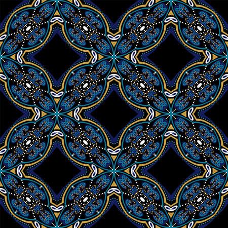 Indigo Geometry Victorian Ornament Vector Seamless Pattern. Modern Moroccan Background. Turquoise and Yellow Spanish Alhambra Design. Illusztráció