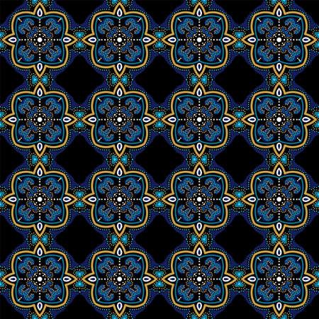 Turquoise and Yellow Geometry Portugal Ornament Vector Seamless Pattern. Modern Turkish Design. Indigo Arabian Vintage Tile. Illusztráció
