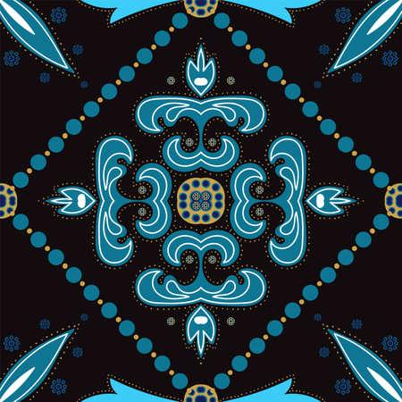 Indigo Floral Motif Ornament Vector Seamless Pattern. Retro Arabesque Design. Dark Blue and Gold Plated Turkish Ethnic Background. Illusztráció