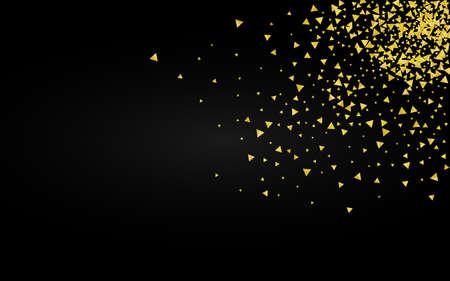 Gold Dust Paper Black Background. Modern Confetti Wallpaper. Golden Shine Transparent Postcard. Rain Luxury Illustration.