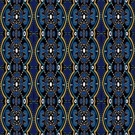 Blue and Gold Floral Spanish Ornament Vector Seamless Pattern. Illustration Arab Texture. Turquoise and Yellow Morocco Geometric Design.