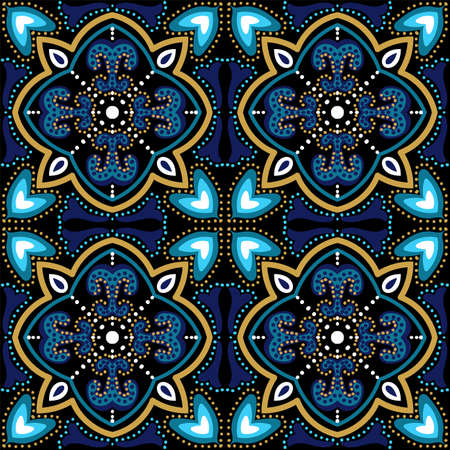 Blue and Gold Flower Muslim Ornament Vector Seamless Pattern. Geometric Portugal Tile. Dark Blue and Gold Plated Oriental Elegant Wallpaper. Stock fotó - 155609242