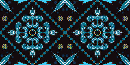 Indigo Geometric Victorian Ornament Vector Seamless Pattern. Elegant Portuguese Background. Dark Blue and Gold Plated Spanish Ceramic Design.
