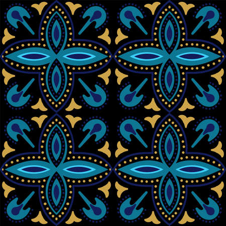 Dark Blue and Gold Plated Retro Victorian Ornament Vector Seamless Pattern. Ceramic Portuguese Design. Turquoise and Yellow Moroccan Vintage Tile. Banco de Imagens - 155609260