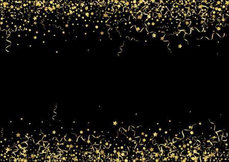 Golden Confetti Festive Vector Black Background. Flying Star Illustration. Serpentine Christmas Template. Gold Anniversary Plant.