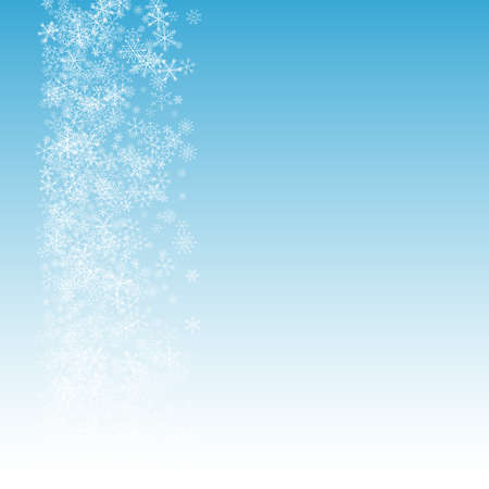 Gray Snowfall Vector Blue Background. Sky Snow Texture. Silver Christmas Holiday. Xmas Snowflake Illustration.