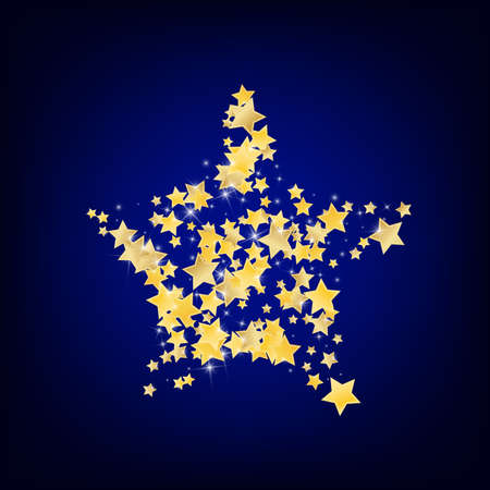 Yellow Decoration Stars Vector Blue Background. Twinkle Shine Background. Dust Texture. Gold Abstract Sparkle Template.