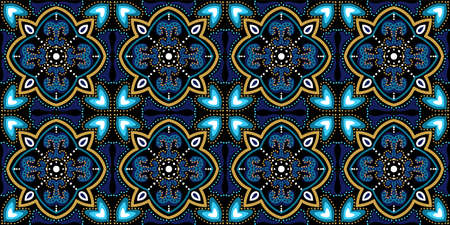 Turquoise and Yellow Fabric Turkish Ornament Vector Seamless Pattern. Alhambra Victorian Texture. Blue and Gold Portugal Flower Design. Illusztráció