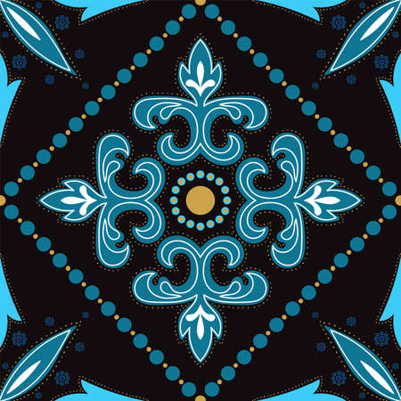 Turquoise and Yellow Old Portuguese Ornament Vector Seamless Pattern. Elegant Motif Background. Blue and Gold Morocco Ceramic Texture. 向量圖像