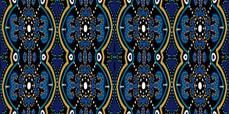 Indigo Ornate Oriental Ornament Vector Seamless Pattern. Flower Moroccan Tile. Turquoise and Yellow Spanish Geometry Background. 向量圖像