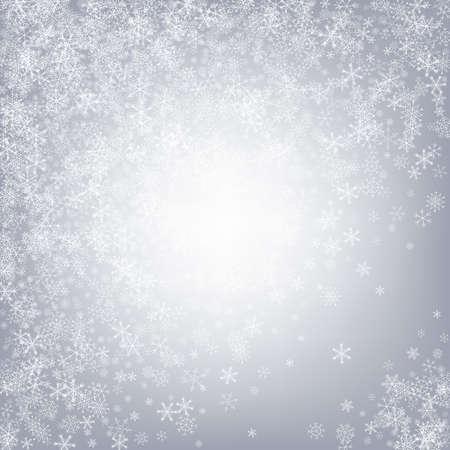 Gray Snow Vector Gray Background. magic Snowfall Card. Silver New Banner. Xmas Snowflake Texture. Vektorové ilustrace