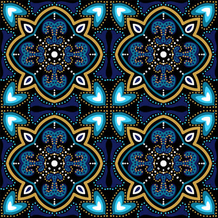 Blue and Gold Geometry Victorian Ornament Vector Seamless Pattern. Ornate Islam Texture. Dark Blue and Gold Plated Arabesque Elegant Wallpaper.