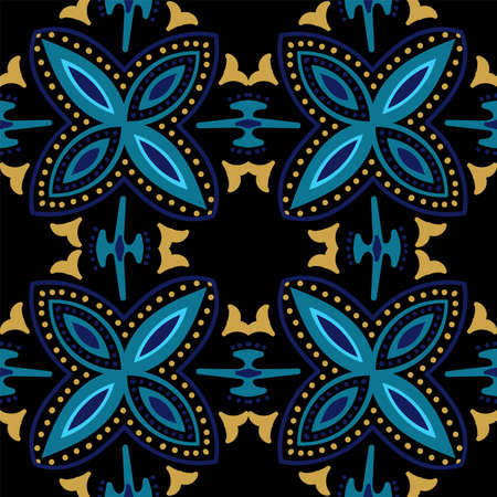Turquoise and Yellow Abstract Victorian Ornament Vector Seamless Pattern. Flower Turkish Background. Dark Blue and Gold Plated Motif Ceramic Design.