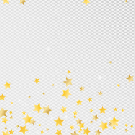 Gold Magic Stars Vector Transparent Background. Light Sky Texture. Sparkle Border. Yellow Party Star Background.