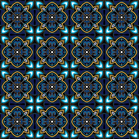 Turquoise and Yellow Alhambra Morocco Ornament Vector Seamless Pattern. Old Motif Texture. Dark Blue and Gold Plated Muslim Retro Tile.