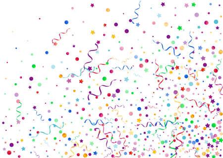 Variegated Ribbon Shiny Vector White Background. Swirl Streamer Design. Confetti Anniversary Invitation. Colored Carnival Illustration. Ilustración de vector