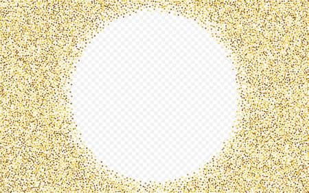 Golden Confetti Bright Transparent Background. Falling Sequin Wallpaper. Yellow Glow Transparent Banner. Sparkle Vector Texture. Vettoriali