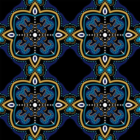 Blue and Gold Traditional Spanish Ornament Vector Seamless Pattern. Decoration Arabesque Design. Dark Blue and Gold Plated Turkish Fabric Tile.