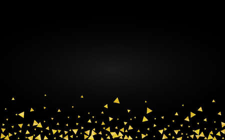 Yellow Confetti Light Black Background. Rich Sparkle Pattern. Gold Triangle Anniversary Banner. Shards Abstract Texture. Standard-Bild - 157130431