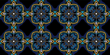 Indigo Traditional Morocco Ornament Vector Seamless Pattern. Retro Spanish Background. Turquoise and Yellow Oriental Old Wallpaper.