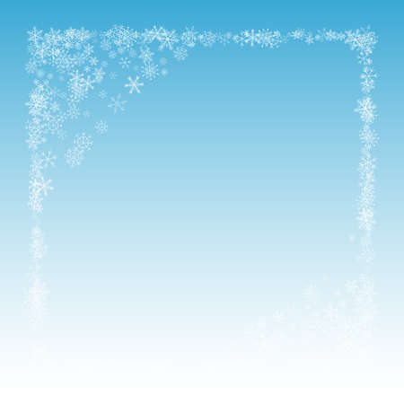 White Snow Vector Blue Background. New Snowfall Holiday. Silver Xmas Backdrop. Holiday Snowflake Illustration.