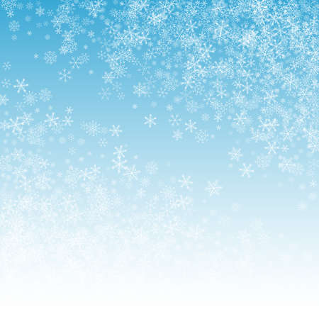 White Snow Vector Blue Background. Light Snowfall Holiday. Silver Falling Transparent. magic Snowflake Backdrop.