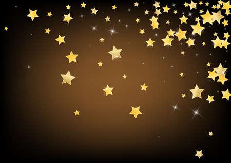 Golden Luxury Stars Vector Brown Background. Falling Confetti Border. Star Design. Gold Galaxy Rain Wallpaper.