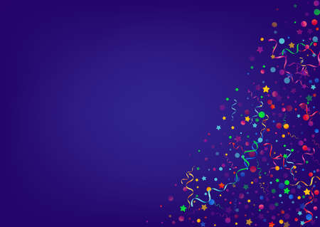 Multi colored Ribbon Celebrate Vector Blue Background. Party Particles Design. Streamer Shiny Plant. Bright Festive Branch.