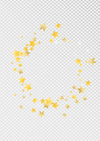 Yellow Xmas Stars Vector Transparent Background. Effect Sky Design. Confetti Background. Gold Christmas Sparkle Template.