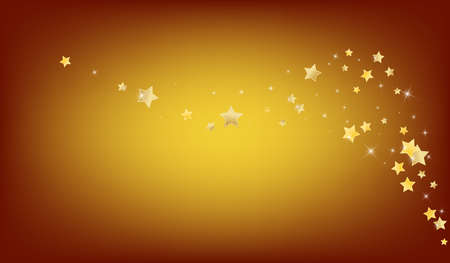 Golden Party Stars Vector Brown Background. Xmas Sparkle Illustration. Space Wallpaper. Yellow Holiday Glow Border. Illustration