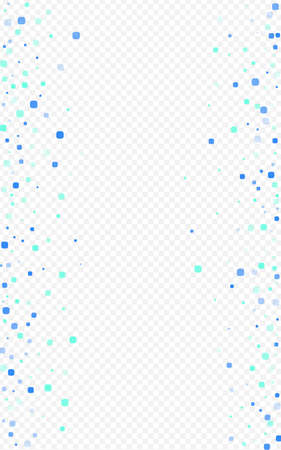 Turquoise Particle Celebration Vector Transparent Background. Effect Confetti Invitation. Decoration Cell Texture. Blue Abstract Illustration.