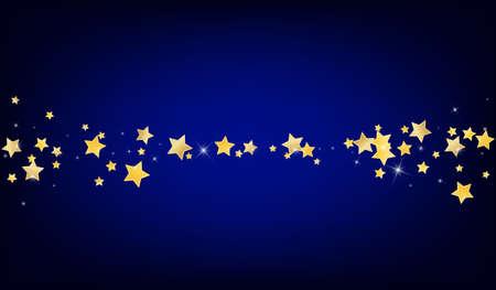 Gold Falling Stars Vector Blue Background. Celebration Space Template. Dust Illustration. Yellow Digital Sky Wallpaper.