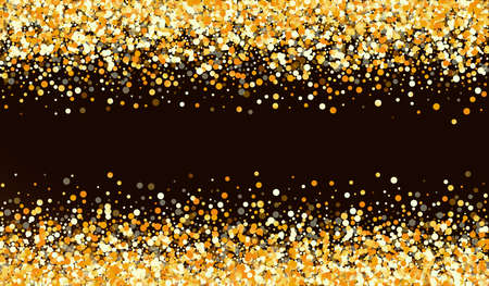 Golden Round Glamour Brown Dark Background. Happy Confetti Texture. Yellow Dust Luxury Illustration. Sequin Light Wallpaper.