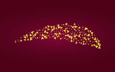 Gold Rain Abstract Burgundy Background. Festive Splash Banner. Yellow Confetti Golden Backdrop. Triangle Art Wallpaper. Zdjęcie Seryjne - 157576812