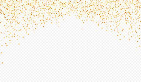 Golden Dot Isolated Transparent Background. Paper Sparkle Design. Gold Confetti Falling Invitation. Round Anniversary Postcard. Ilustracja